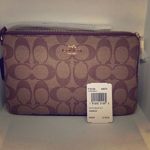 Coach brown double wristlet